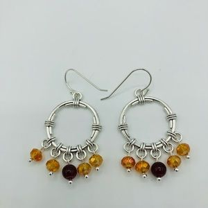Antiqued Silver and Crystal Earrings